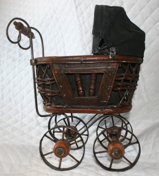 Items Similar To Vintage Antique Doll Baby Buggy Replica Doll Display On Etsy
