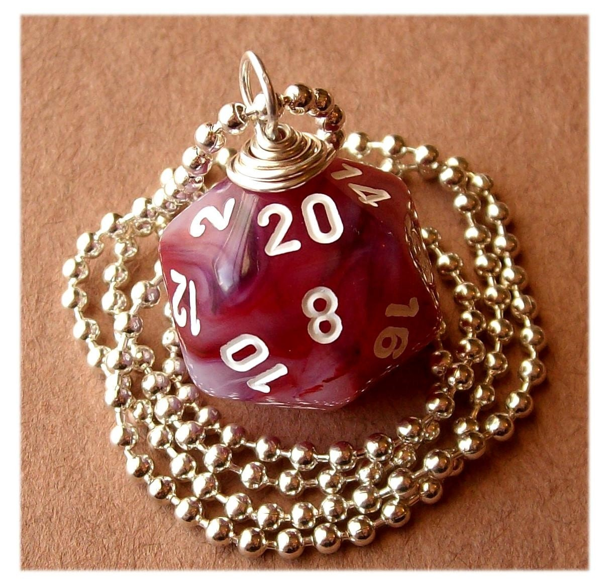 geekery, dice, die, geek, game, dnd, jewelry, necklace, pendant, accessory, dungeons dragons, pawandclawdesigns, red, pink