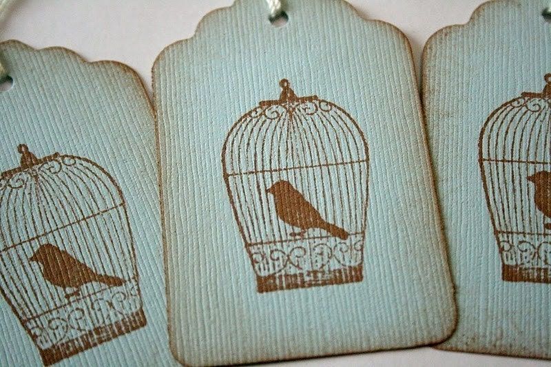 Vintage Bird in a Bird Cage Gift Tags