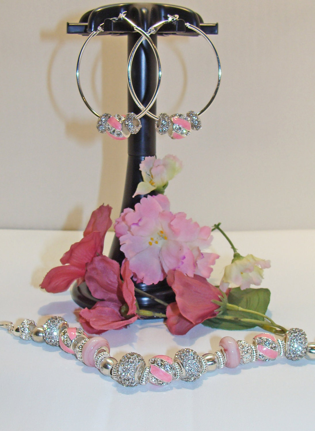 Pandora Style Beads Pink and Crystal Hoop Earrings