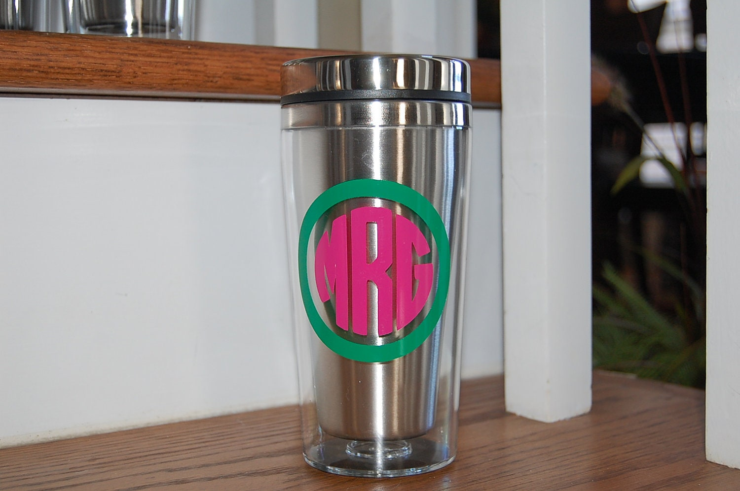 Stainless double wall insulated Coffee Travel Mug personalize monogram GREAT gift idea