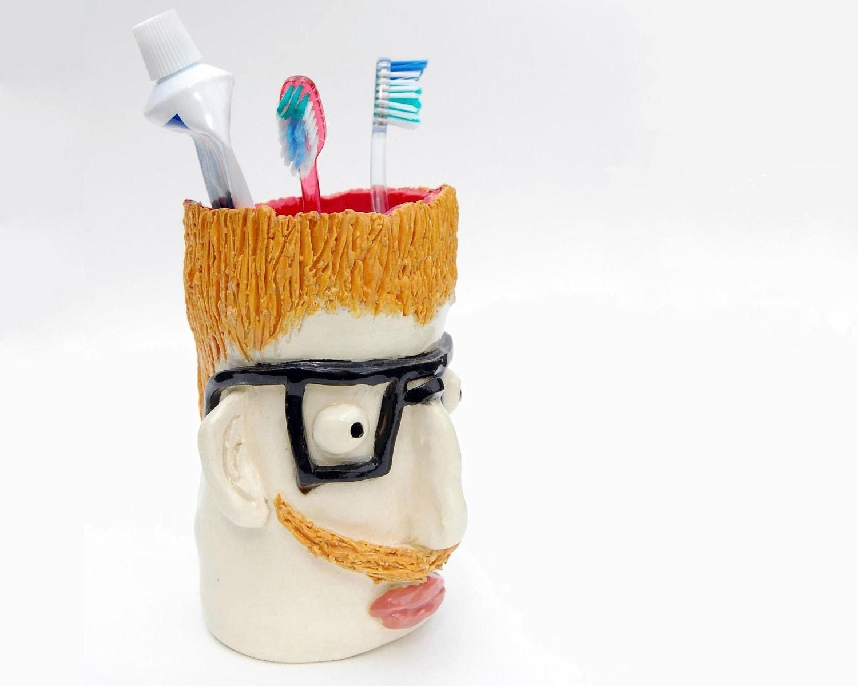 Ceramic Head Container - Mr. Mike Mustache - LesleyWilsonArt