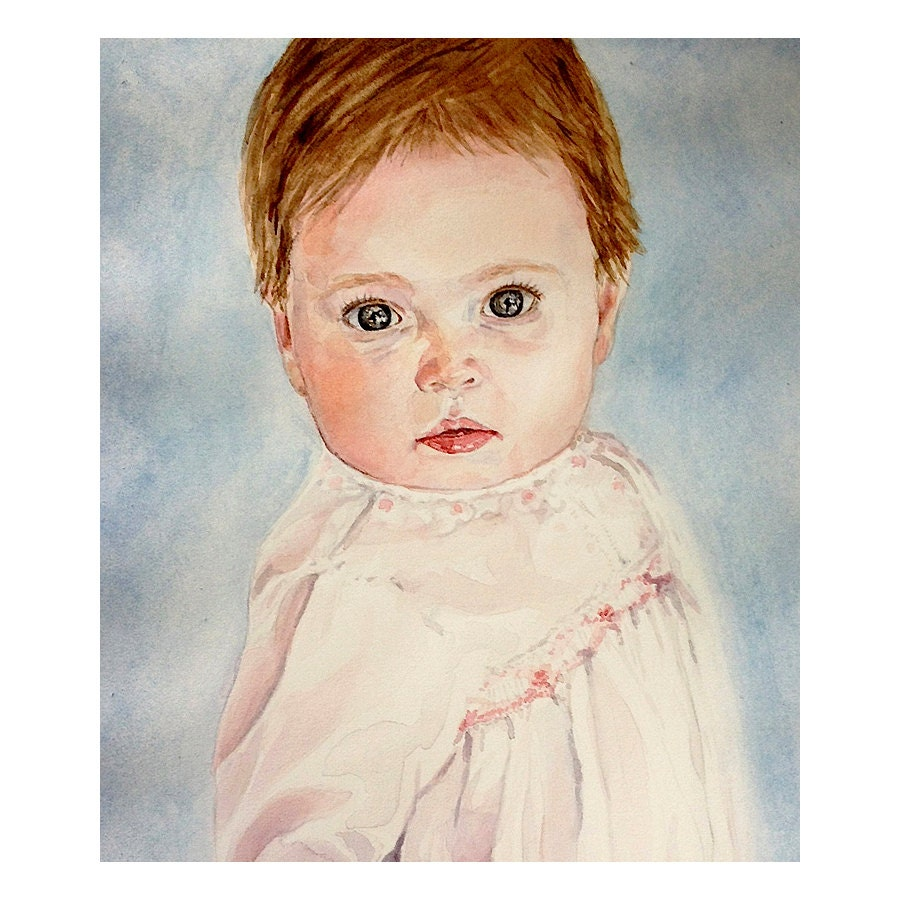 Custom Portrait Sketch Art- 8x10-Original Drawing Painting From Photo- Children, Event Gift,Mixed Media - lauraprill