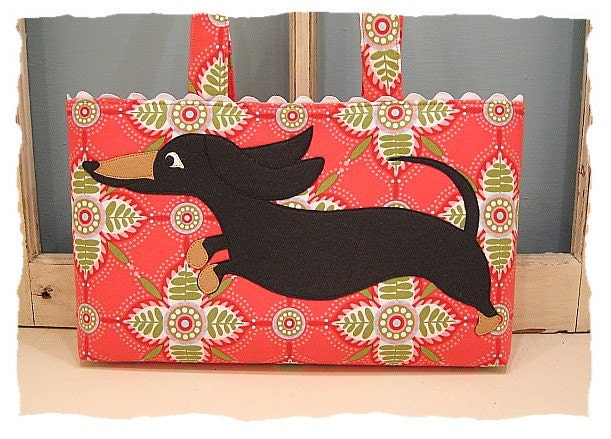 Wheener Dog Dachshund Tote with Black and Tan Puppy