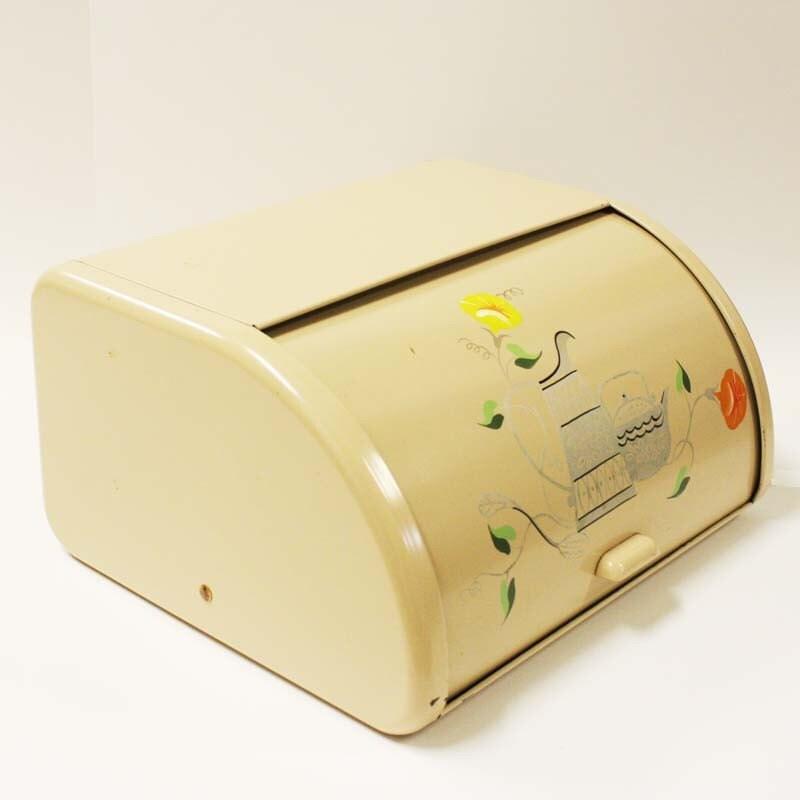 Vintage glass top tin bread box