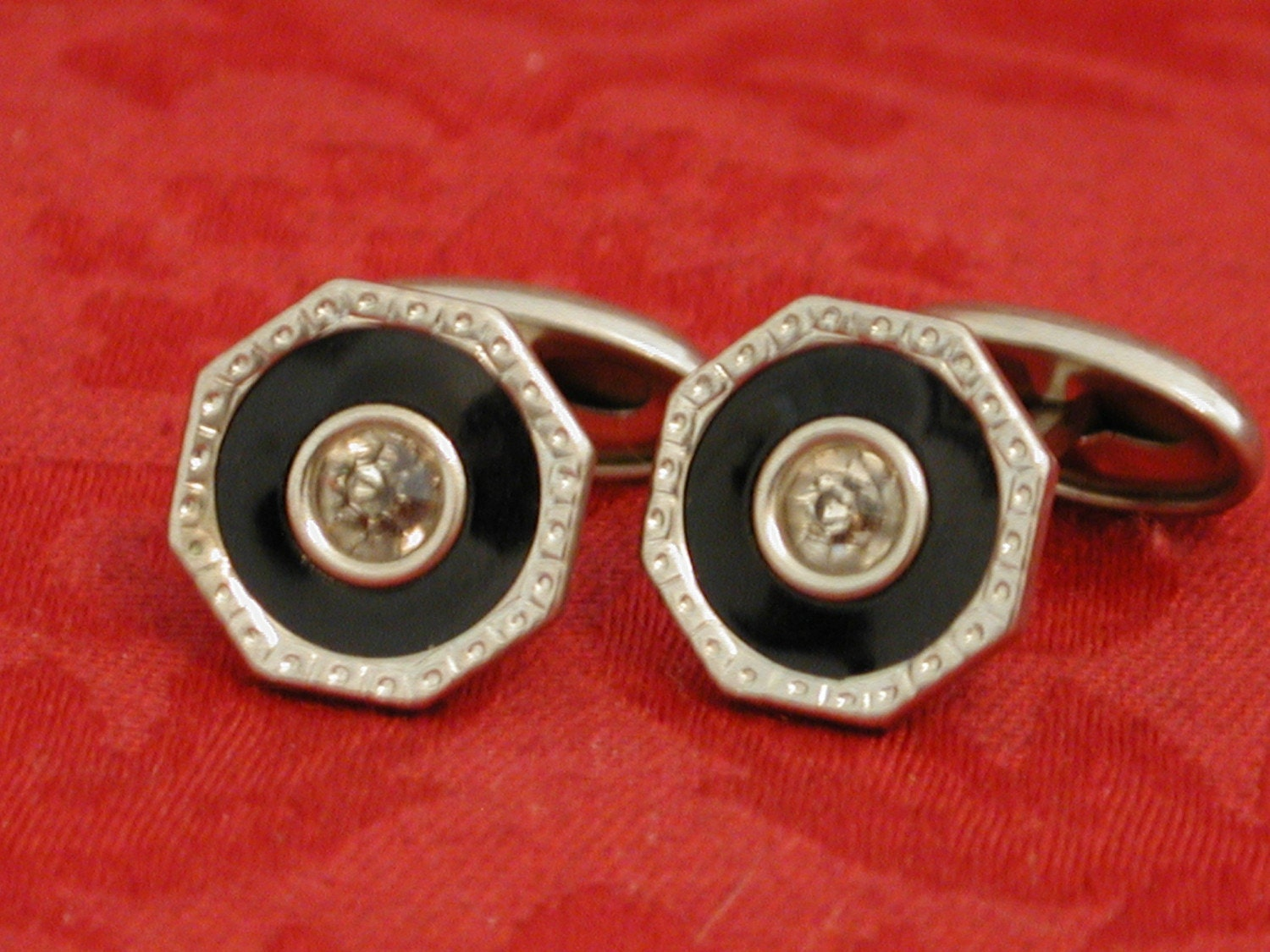 Vintage Deco SIlver, Black and Rhinestone Elegant Spiffy Cufflinks Cuff Links