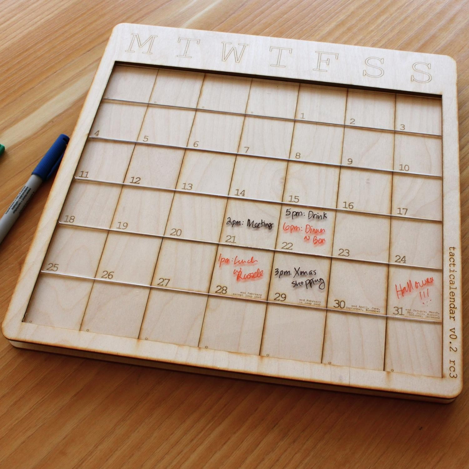 Perpetual Horizon Erasable Calendar - for 2011 and beyond