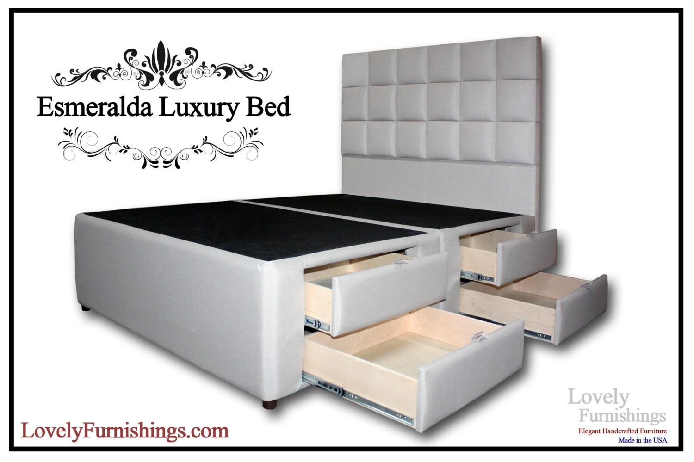 Esmeralda luxury bed king platform storage by for Exotic bed frames