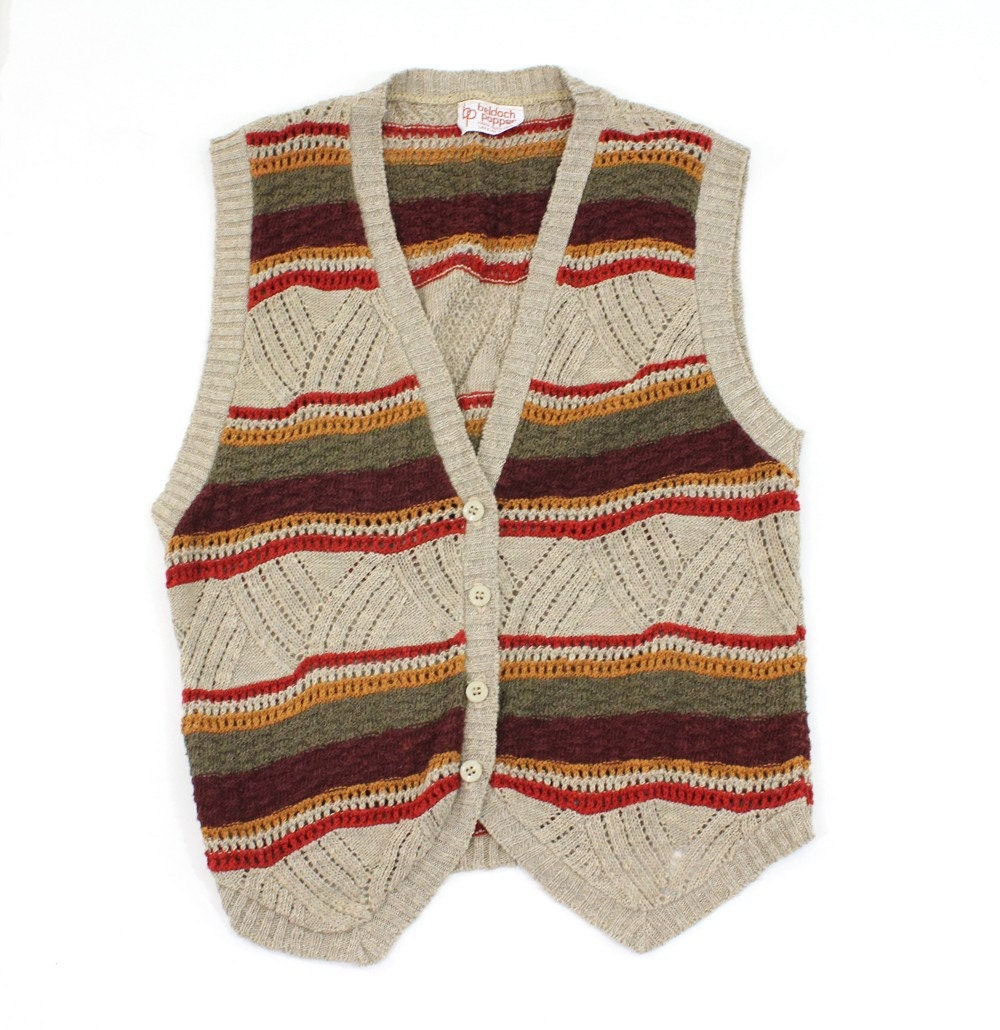vintage 1970's soft COLLEGIATE knit vest