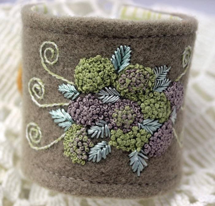 Wrist Cuff Hand Embroidered Fiber Bracelet Hydrangeas