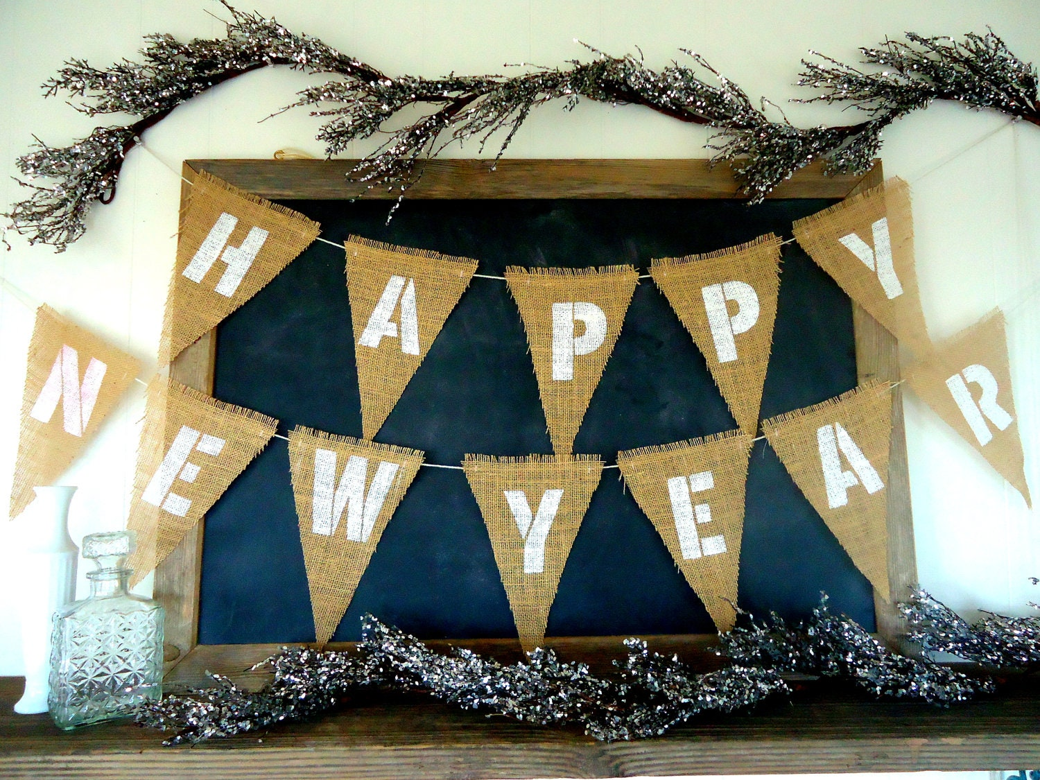 Happy New Year Triangle Burlap Banner Holiday Garland Party Sign Decor Bunting White Letters