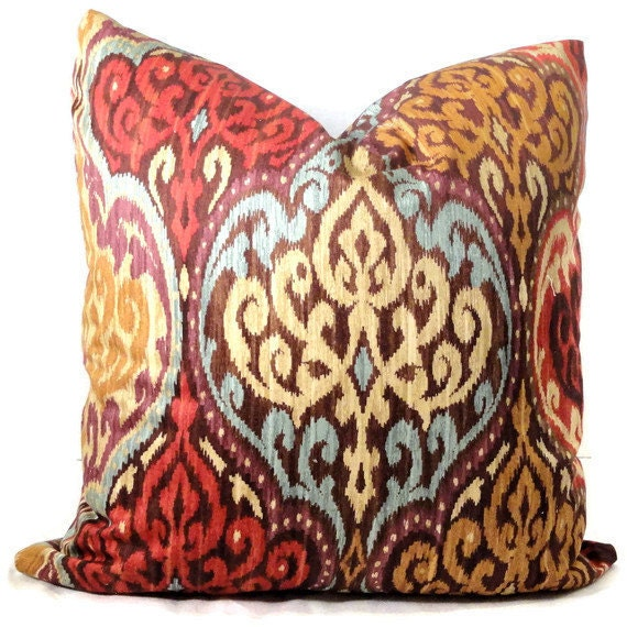 Autumn Throw Pillow Covers : Autumn Ikat Design Decorative Pillow Cover Square by PopOColor