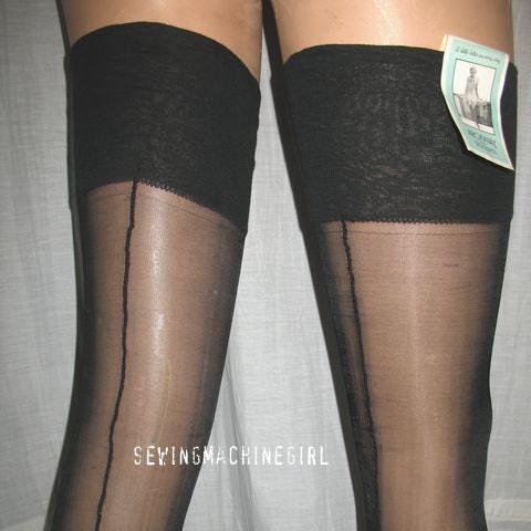 VINTAGE 1930's Black Rayon Seamed Stockings NIP Sz 9. 5
