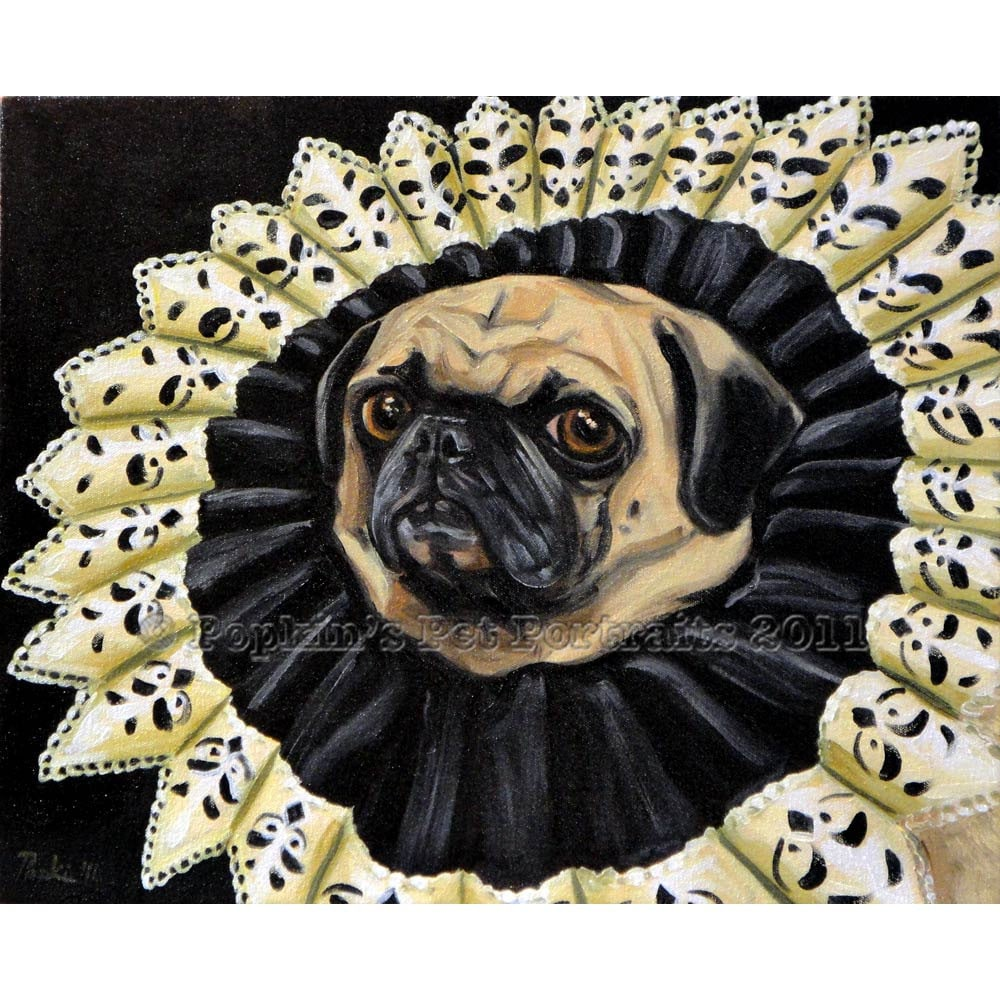 Perogi, Queen of Pugs pet portrait Signed archival Giclee Print  8x10