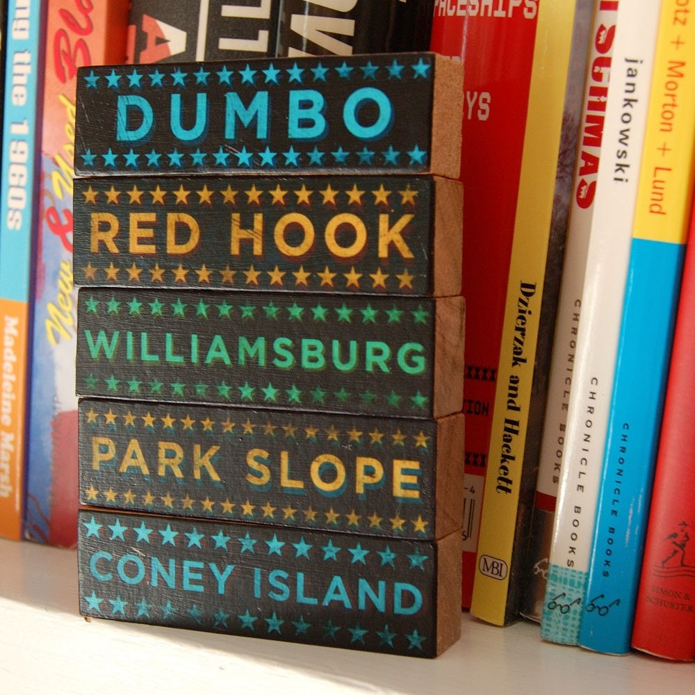 Brooklyn Hoods on Wood - Five Art Block Set - Pick the Hoods