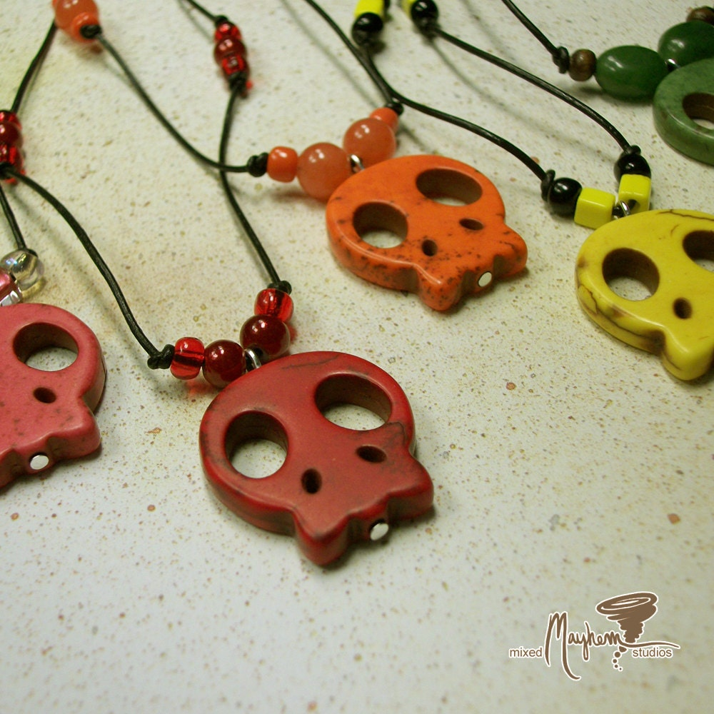 Pay It Forward Sale - Dyed Magnesite Cutesy Skull Pendant Necklace On Leather Cord
