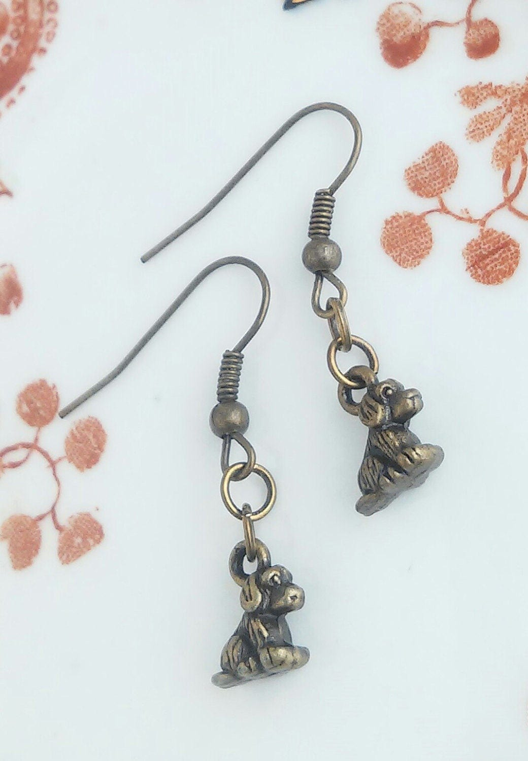 Dog Charm Earrings Antique Bronze Jewellery Gift Dogs Doggy Puppy Pup Pet Animal