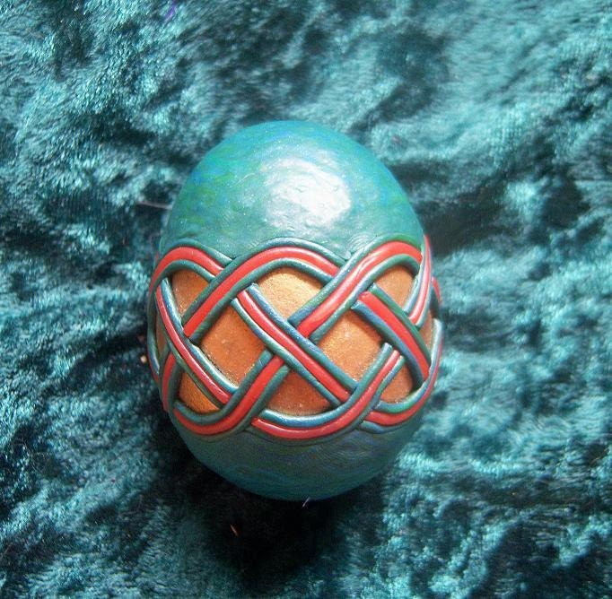 Gryphon Egg Polymer Clay Knotwork Egg Green Blue Red And Gold