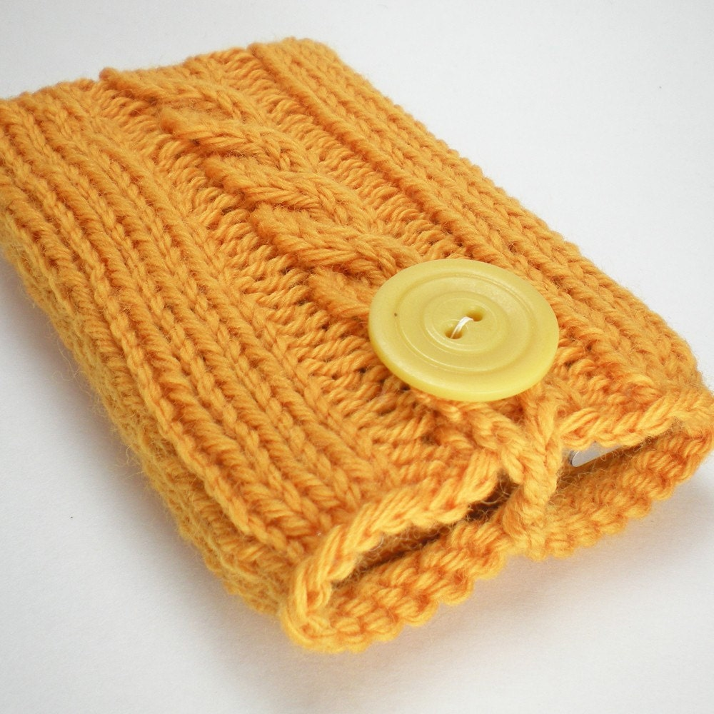 Hand knit iPod or iPhone cozy in Pumpkin Yellow (MP3 player, cell phone, or camera case)