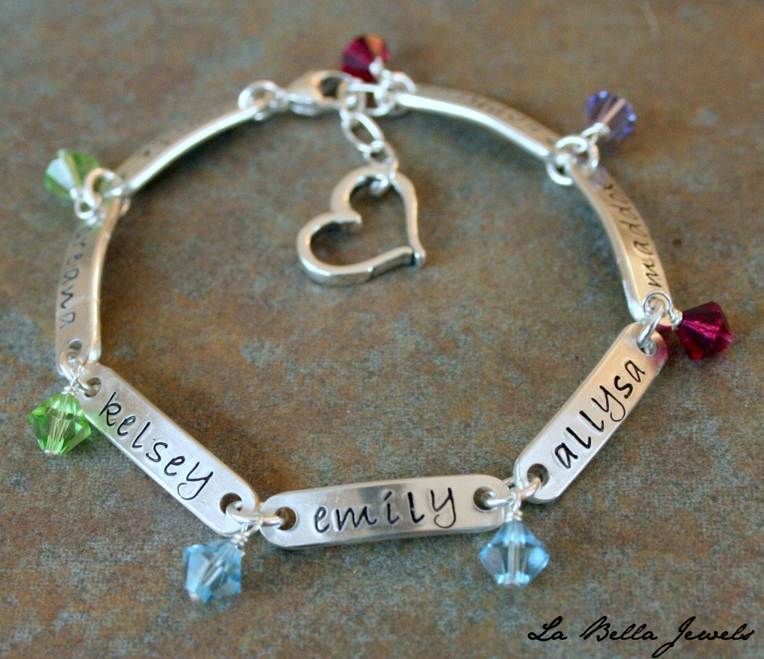 All In The Family 7 Name Hand Stamped Bracelet