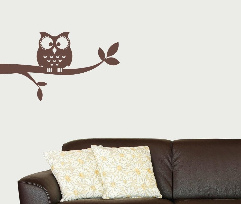 Owl On A Branch Vinyl Wall Decal By Tweetheartwallart