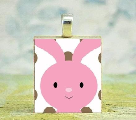 Pink Easter Bunny Scrabble Tile Pendant w. FREE Ball Chain