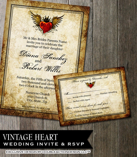 Vintage Tattoo Wedding Invitation Red Winged By OddLotEmporium
