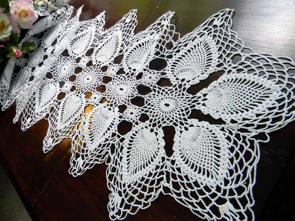 Crochet Patterns Lace Table Runners : Crochet Lace Table Runner or Scarf in by VintageKeepsakes ...
