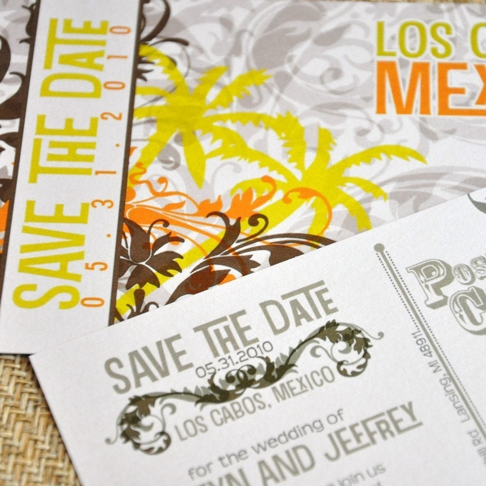 Deposit - Save the Date Postcard (Palm Flourish)
