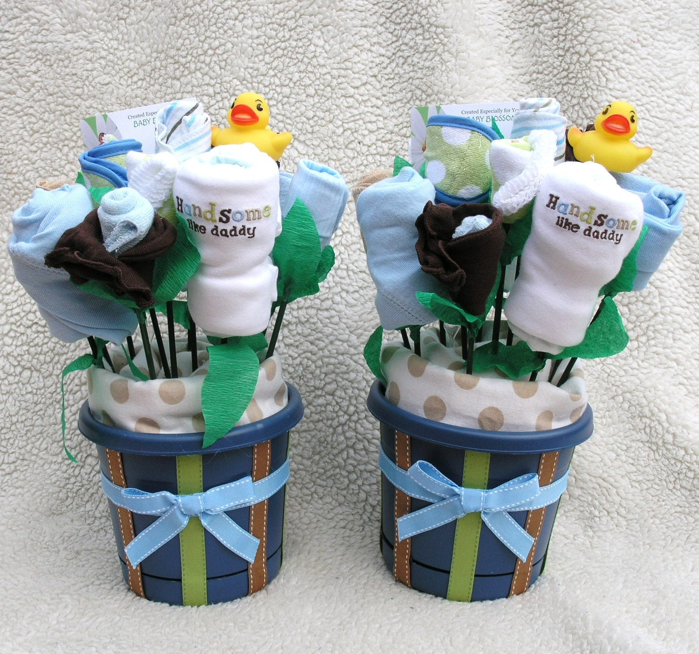 Twin baby boys gift boy twin baby shower by babyblossomco for Baby shower decoration twins