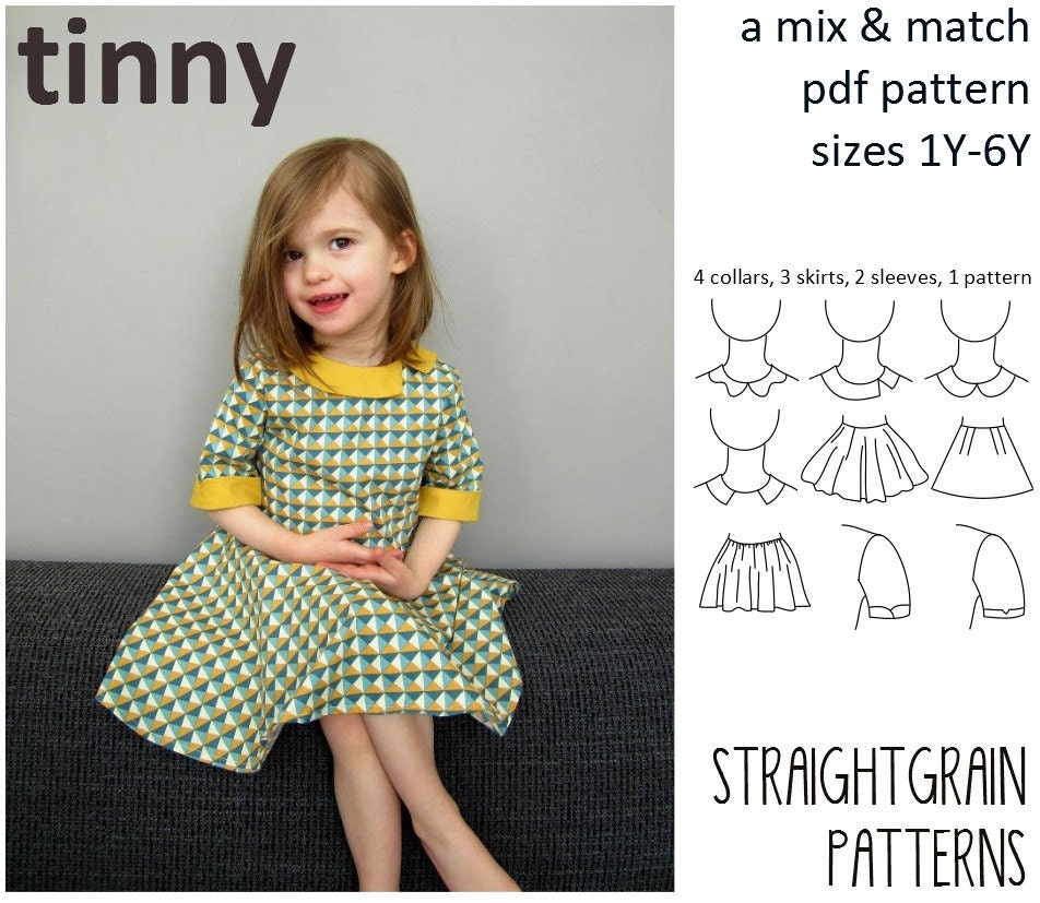 Tinny dress pattern sizes 1 year - 6 years
