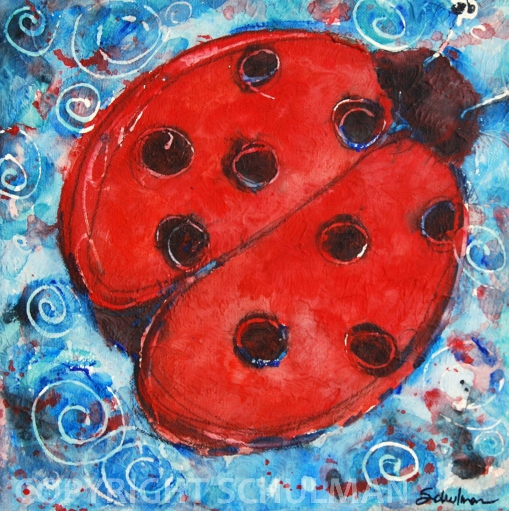 "Lady Bug, Ladybug Art, Modern Abstract Contemporary Watercolor Painting art ""First Lady Bug"" 12x12 in patriotic red, white and blue"
