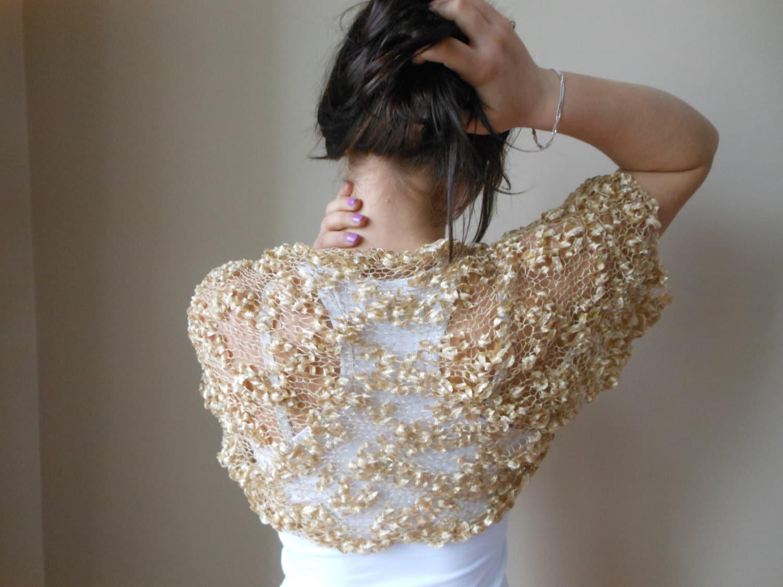 Knit Shrug Bolero Wooman Summer Shrug Lace Sleeves by MyKnitCroch