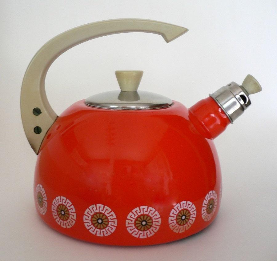Etsy :: ourvintagestuff :: Vintage Enameled Kettle 1960s Retro Orange