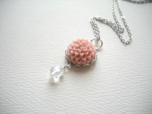 Petite Pink Chrysanthemum Necklace