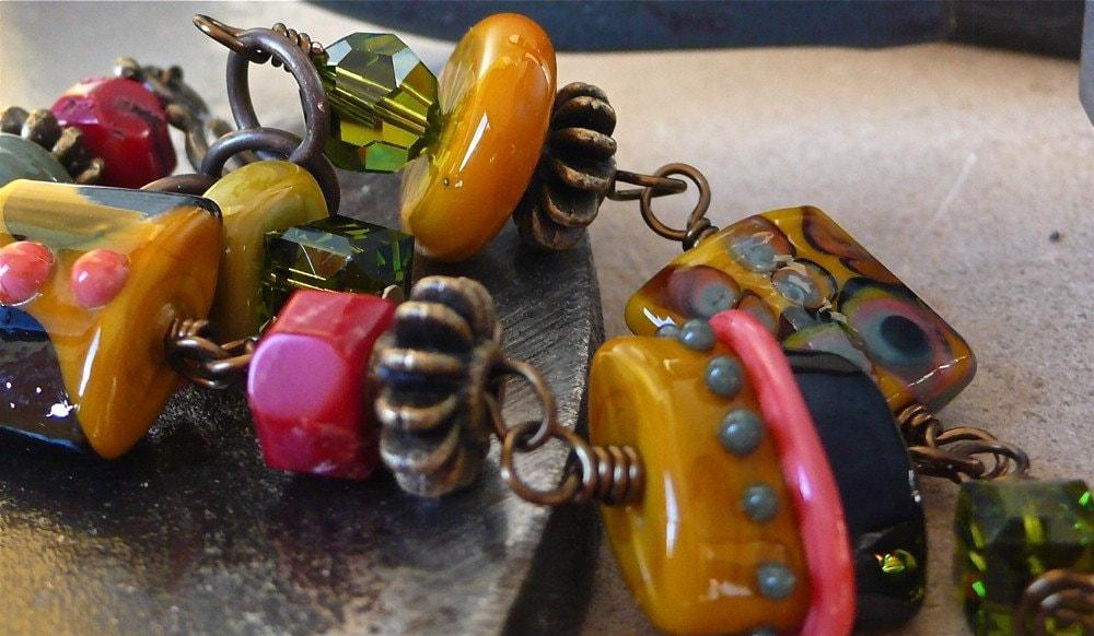 Black Hills ... Lampwork and Brass Bracelet