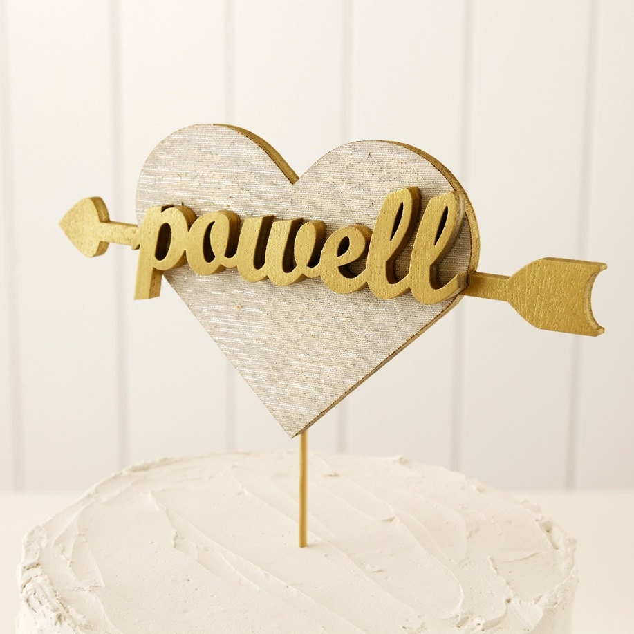 Custom Heart Wedding Cake Topper in Gold
