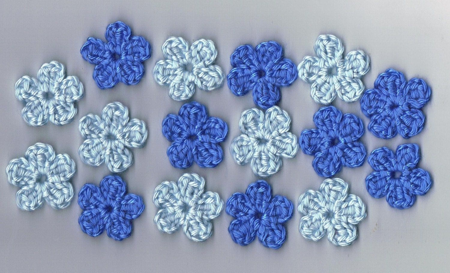 Applique Blue Flowers hand crocheted