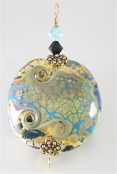 Blue, Black & Gold Glass Lampwork Focal Bead Pendant