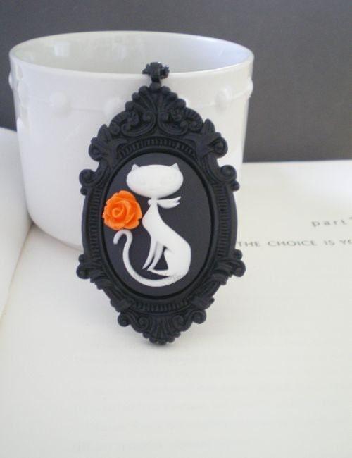 Halloween Cat Necklace. Orange Rose. Cameo Jewelry. Black and White.  NEW ITEM