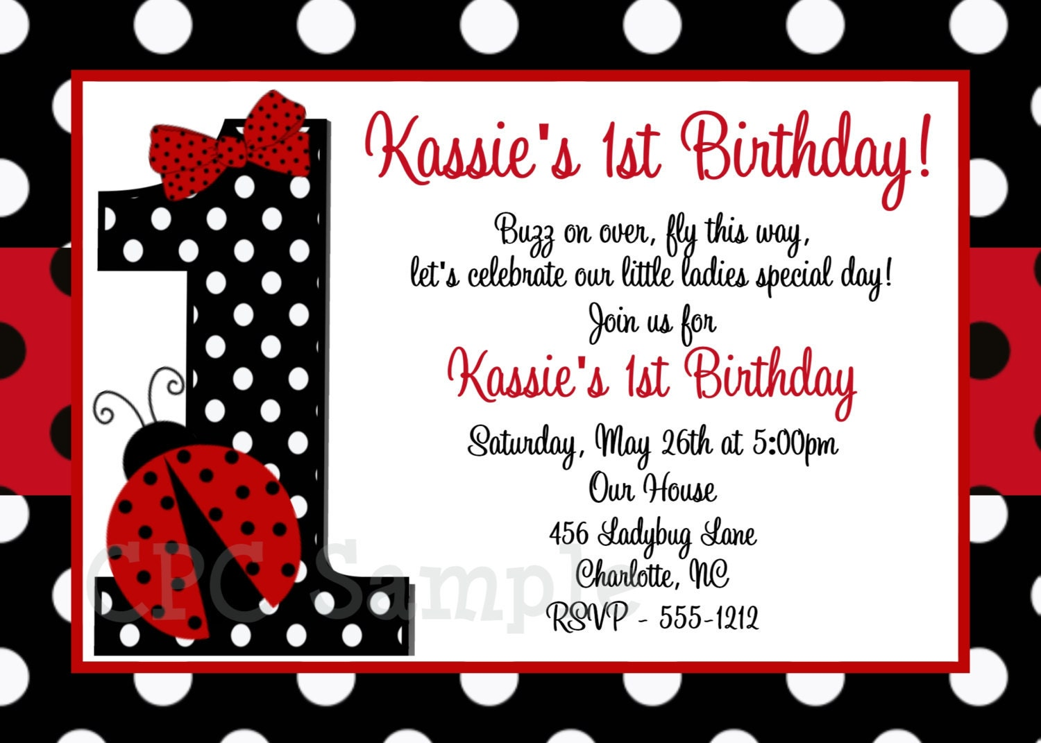 Ladybug 1st Birthday Invitation, Ladybug Birthday Party Invitation ...