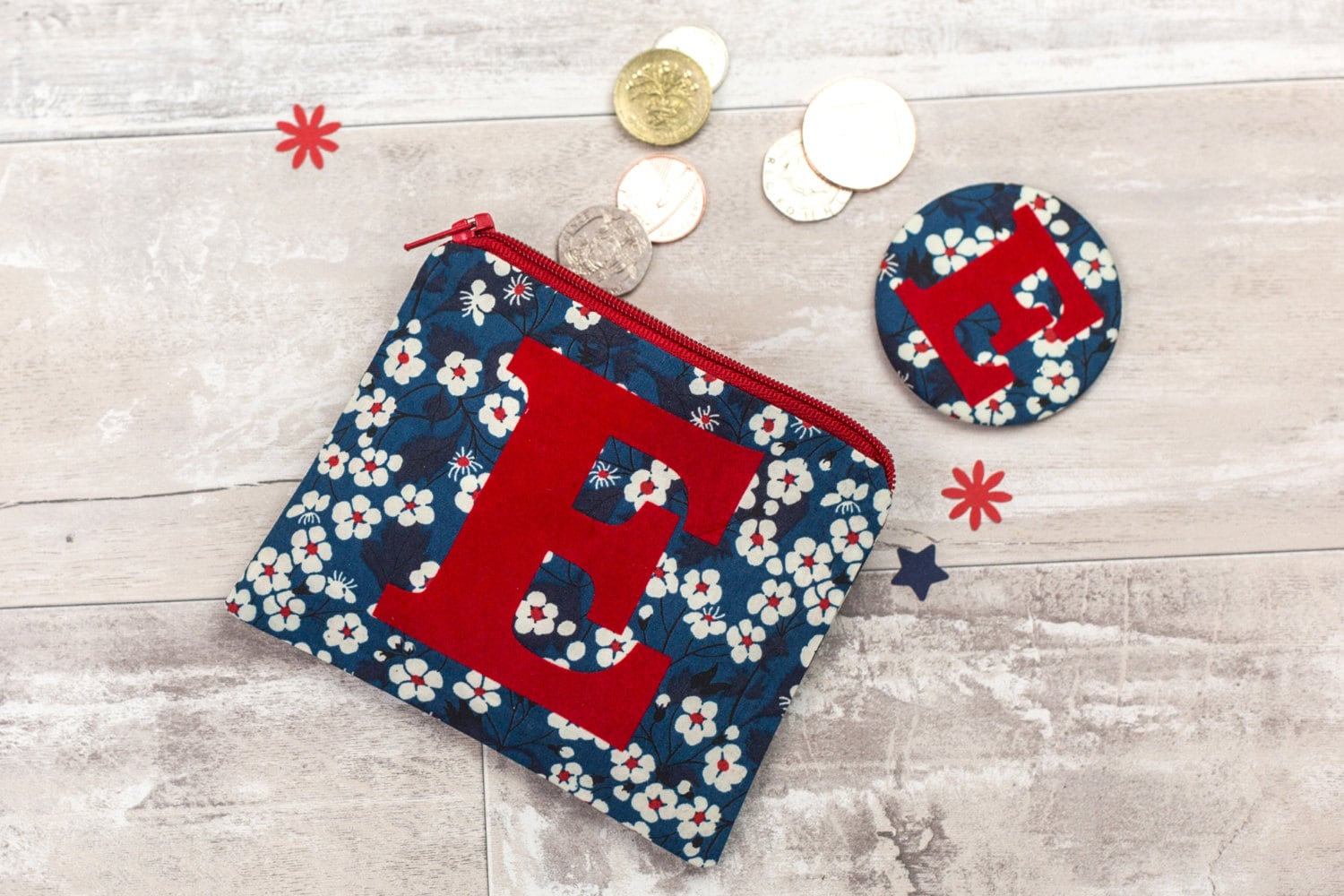 Initial coin purse with mirror  bridesmaid gift  Liberty purse  flower girl gift  personalized gift for friend  personalised zip pouch