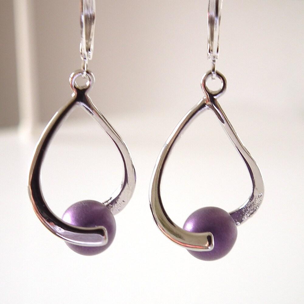 Purple Bead Sleek Modern Silver Plated Earrings