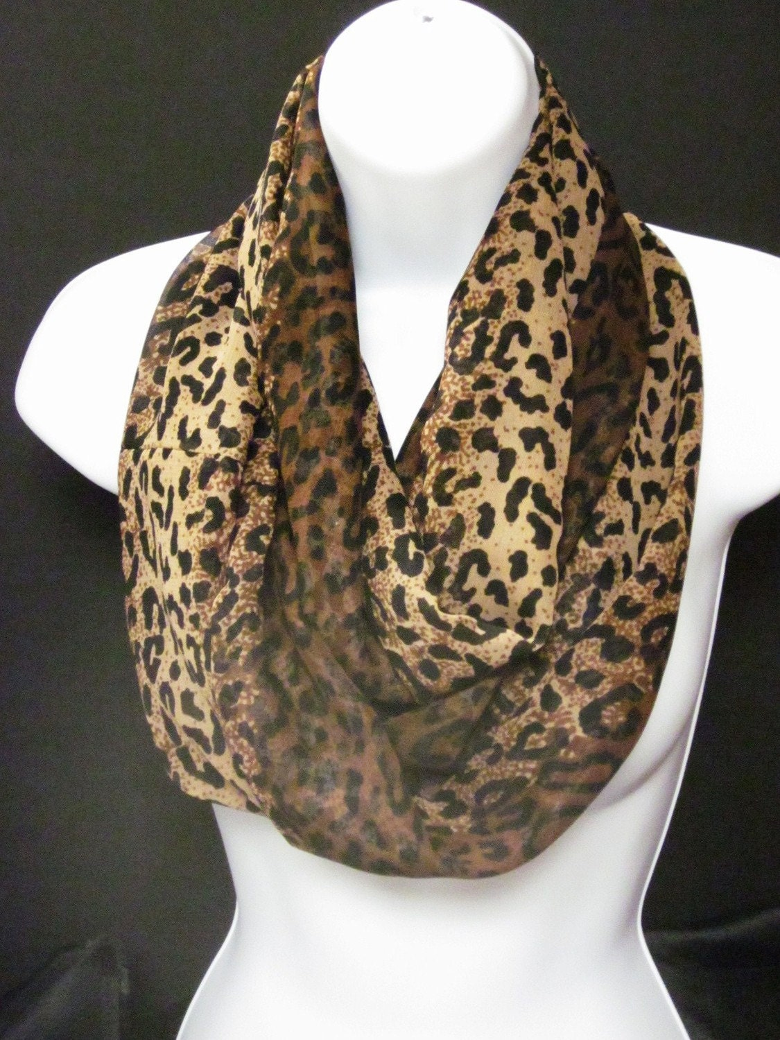 animal cheetah or leopard print infinity scarf in by