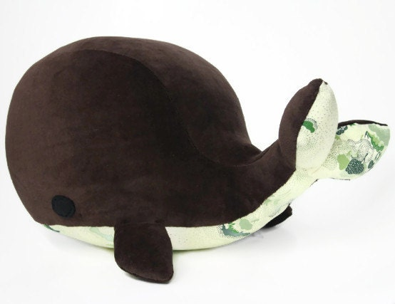 whale, brown and green retro trees stuffed toy - atelierannelie