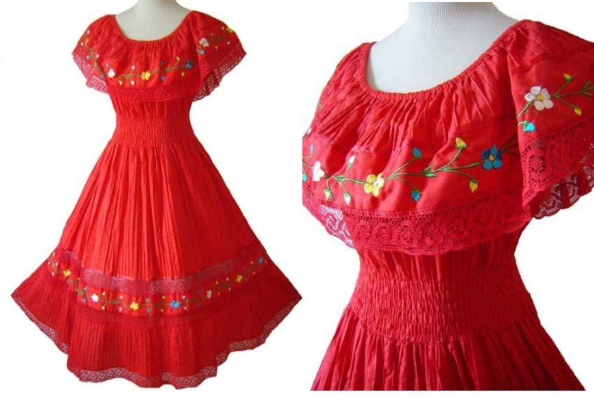 Red mexican embroidered floral lace fiesta dress noswt stylehive