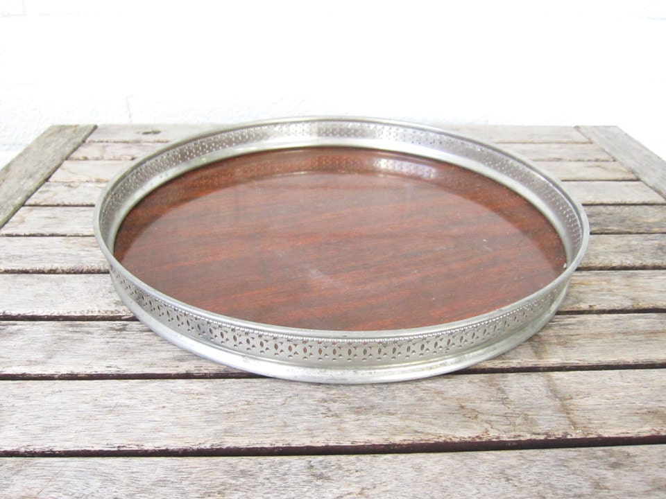 Vintage Wood and Silver Tray - Mid Century Formica Laminate Faux Wood Tray with Silver Filigree Platter - Barware Mad Men Mod Cocktail Tray - LaRouxVintage