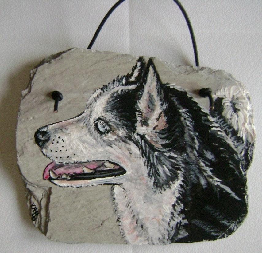 Black and White Husky Dog Hand Painted Slate