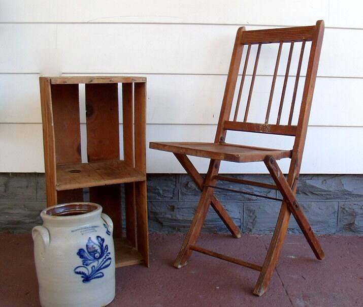 Early Wooden Folding Chair Vintage Funeral Home By DivineOrders