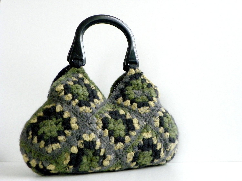 NzLbags-войлочная сумочка вязание крючком Шерсть - Оттенки Замечательный Цвет - Nr-0184